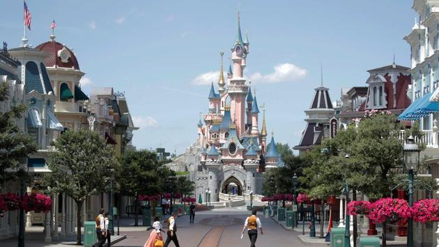 A deserted street is seen at Disneyland Paris, in Marne-la-Vallee, near Paris, as the theme park prepares to reopen its doors to the public following the coronavirus disease (COVID-19) outbreak in France, July 9, 2020.(REUTERS)