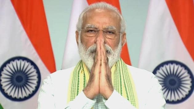 Prime Minister Narendra Modi during dedication of the 750MW Solar Project of Rewa (Madhya Pradesh) to the nation via video conferencing, in New Delhi on Friday.(ANI)