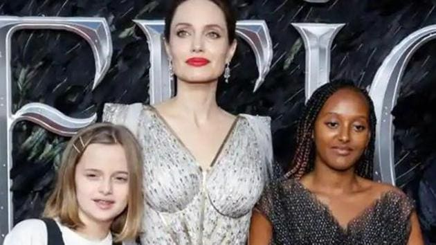 Angelina Jolie with daughters Vivienne and Zahara.