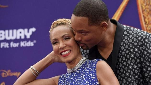 Will Smith with wife Jada Pinkett Smith at the premiere of Aladdin.