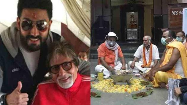 Prayers are being performed for Amitabh Bachchan and Abhishek at a temple in Ujjain.(Satyabrata Tripathy/HT)