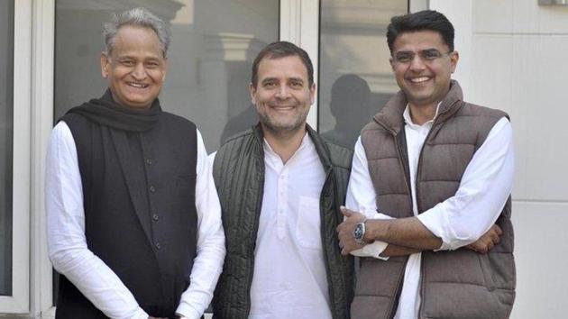 Former Congress chief Rahul Gandhi with Rajasthan chief minister Ashok Gehlot and deputy chief minister Sachin Pilot.(@RahulGandhi/Twitter)