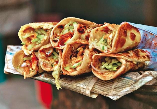 Kebabs rolled in paratha with onions is a fantastic dish that needs to be popularised and preserved(Shutterstock)