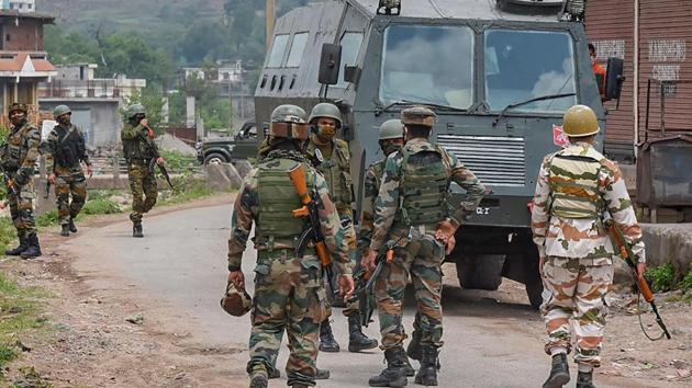 On Sunday, three terrorists were killed in a day-long encounter with security forces in Sopore in the northern district of Baramulla.(PTI)