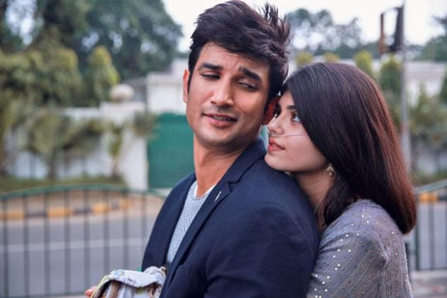 Sushant Singh Rajput and Sanjana Sanghi in a still from Dil Bechara song Taare Ginn.