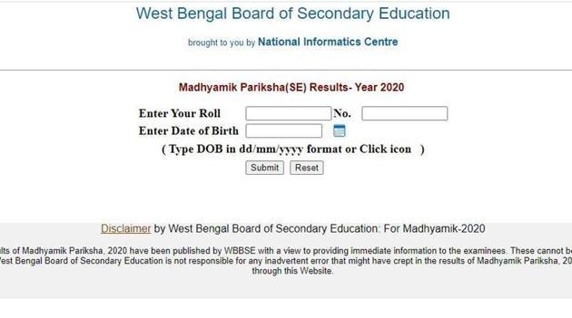 WBBSE Madhyamik Results 2020.(Screengrab.)