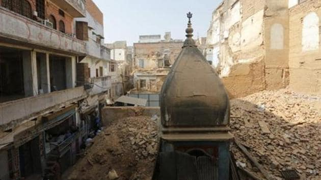 Around 60 temples were found in the vicinity of famous Kashi Vishwanath temple after demolition work began for creation of a corridor in the area in 2018.(AP Photo/File)