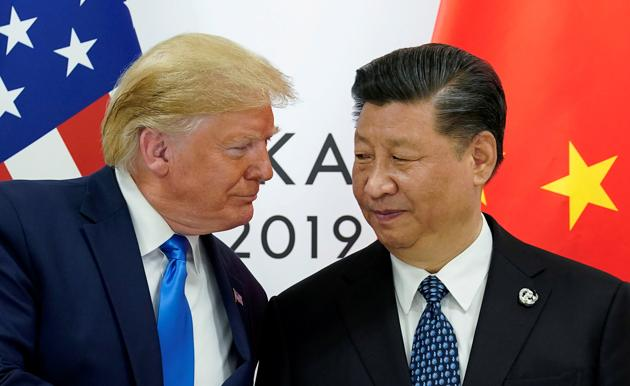 US President Donald Trump meets with China's President Xi Jinping at the start of their bilateral meeting at the G20 leaders summit in Osaka, Japan, June 29, 2019.(REUTERS)