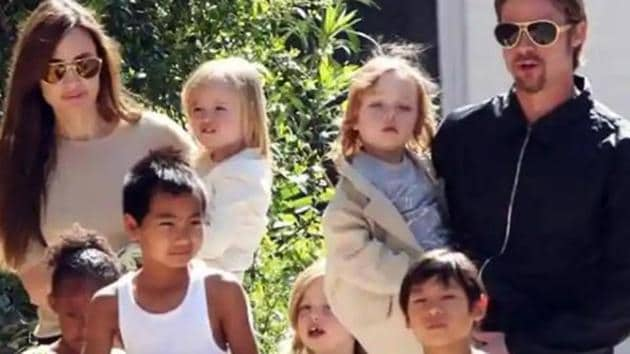 Brad Pitt and Angelina Jolie with their six children.(AP)