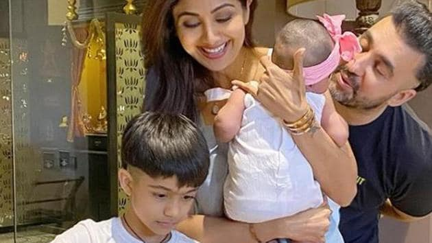 Shilpa Shetty with her husband and two kids.