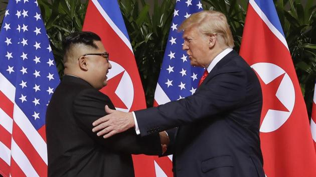 Donald Trump and Kim Jong Un have met three times since embarking on high-stakes nuclear diplomacy in 2018, beginning with their meeting in Singapore where they issued vague vows for a nuclear-free Korean Peninsula without describing when and how it would occur.(AP file photo)