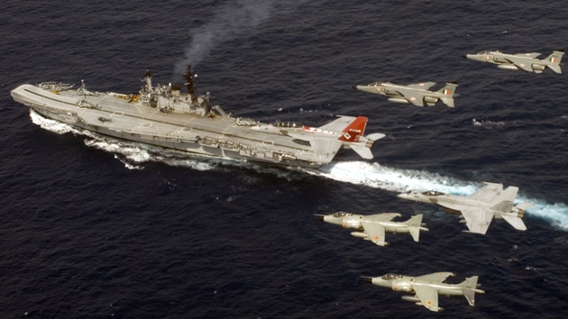 USS Nimitz at 2007 Malabar exercises with Indian Jaguar fighters. China issued demarche to all participating QUAD countries plus Singapore.(File Photo/Courtesy: US Navy)