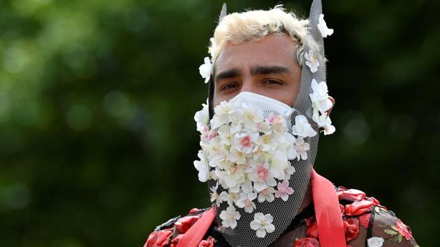 A participant wears a decorated face mask during a Black Trans Lives Matter rally in London, Britain, June 27, 2020. (Representational)(REUTERS)