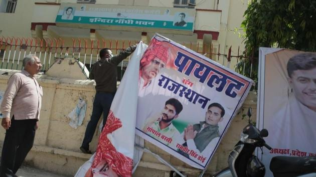 Banners of Congress leader Sachin Pilot are pulled down at State Congress Office after he was dropped from the Rajasthan's cabinet of ministers, in Jaipur, Rajasthan on July 14, 2020. (Photo by Himanshu Vyas/ Hindustan Times)
