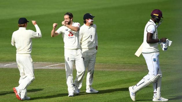 Chris Woakes celebrates the wicket of Jason Holder(ICC)