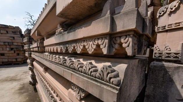 Carved stone at Ram Janmabhoomi Nyas Karyashala in Ayodhya(PTI)