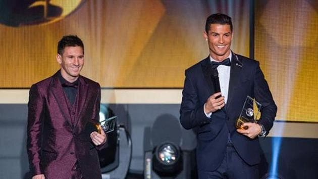 File phot of Lionel Messi and Cristiano Ronaldo at a FIFA Ballon d'Or ceremony.(Getty Images)
