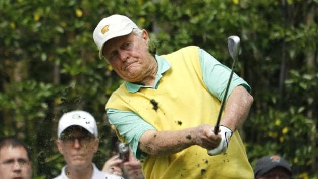 U.S. golf great Jack Nicklaus hits off the 3rd tee during the par 3 contest held on the final day of practice for the 2018 Masters golf tournament at Augusta National Golf Club in Augusta.(REUTERS)