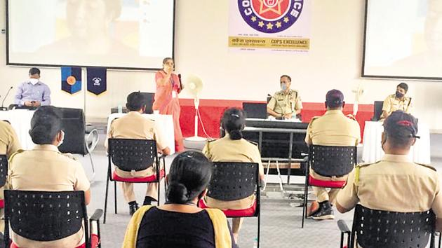 Pune police held a counselling session for some of the officials who recovered from the virus(HT PHOTO)