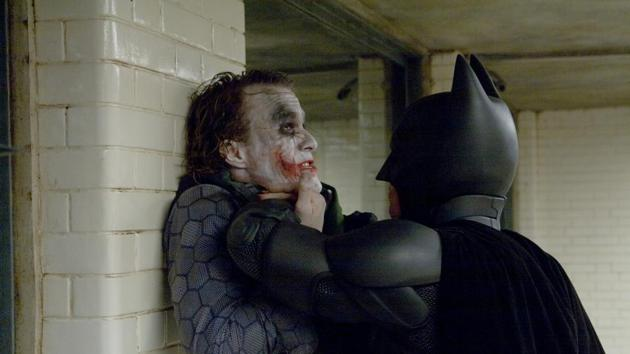Heath Ledger and Christian Bale in a still from The Dark Knight.