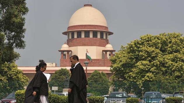 New Delhi, India - Oct. 14, 2019: A view of the Supreme Court of India while a hearing on the Babri Majid – Ram Janmabhoomi case is underway in New Delhi, India, on Monday, October 14, 2019. (Photo by Sanchit Khanna/ Hindustan Times)(Sanchit Khanna/HT PHOTO)