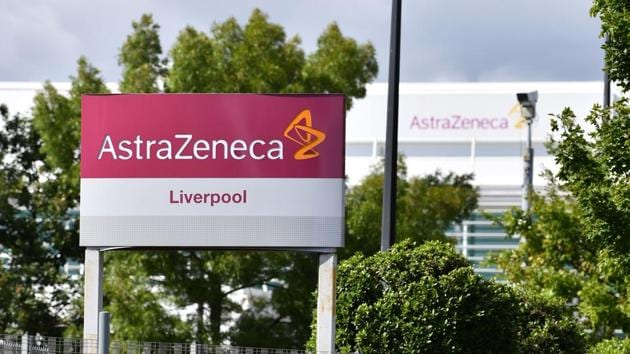A sign is pictured outside the AstraZeneca factory in Liverpool north west England.(AFP)