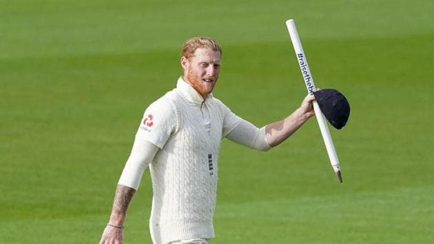 England's Ben Stokes celebrates after winning the test against West Indies(REUTERS)