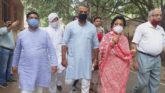 Raja Man Singh's daughter Krishnendra Kaur Deepa after the verdict in Mathura on Wednesday.(HT Photo)