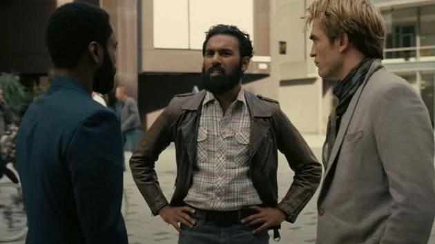 Himesh Patel with Robert Pattinson and John David Washington, in a still from Tenet.