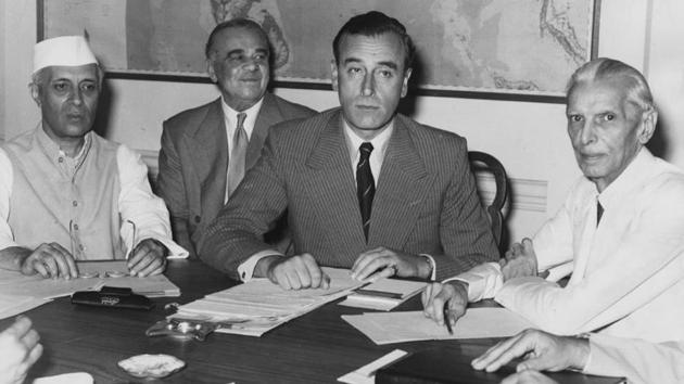 At the conference in New Delhi where Lord Mountbatten disclosed Britain's partition plan for India.(Getty Images)