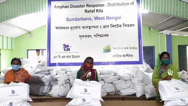 Relief kit distribution in the Sunderbans