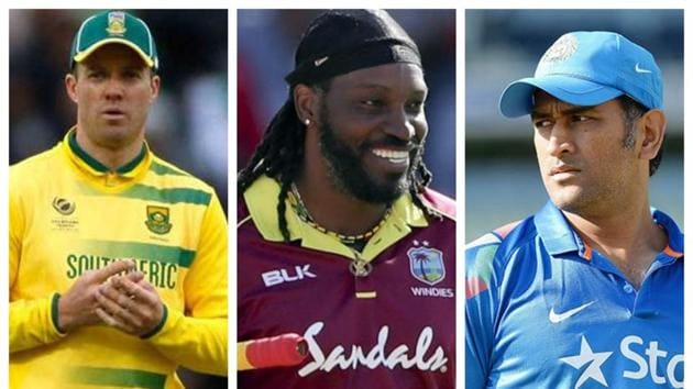 File image of AB de Villiers, Chris Gayle and MS Dhoni.(HT Collage)