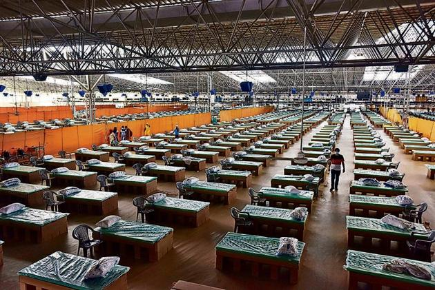 The facility has about 10,200 beds, but just 250 of them are currently occupied.(Sanjeev Verma/HT PHOTO)