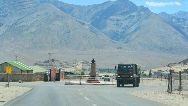 An army truck moves towards LAC, amid India-China border dispute in eastern Ladakh, in Leh.(PTI)