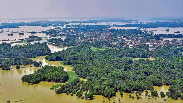 An aerial view of a flood-affected area in Darbhanga district of Bihar on Sunday.(PTI)