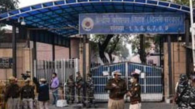 Police personnel seen at Tihar Village in New Delhi, India.(Biplov Bhuyan/HT PHOTO)