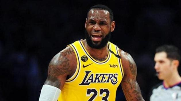 Los Angeles Lakers forward LeBron James (23) reacts against the Milwaukee Bucks during the second half at Staples Center during a match in March 2020. OMandatory Credit: Gary A. Vasquez-USA TODAY Sports(USA TODAY Sports)