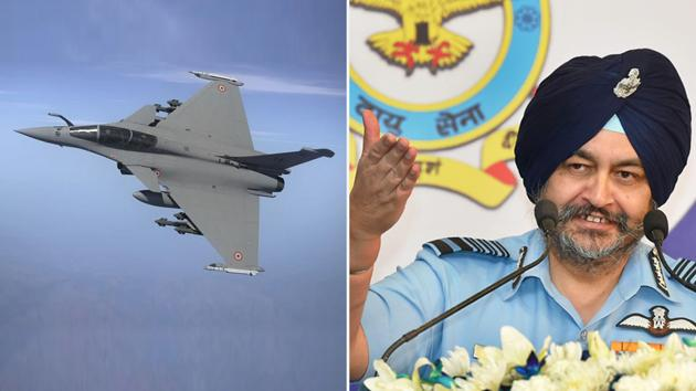 Dhanoa, the chief architect of February 26, 2019 air strikes on Balakot, said that Rafale with its top of the line electronic warfare suite, Meteor beyond visual range missile, SCALP air to ground weapon with terrain following capability outguns any threat that the Chinese Air Force produces.(HT Photos/PTI)