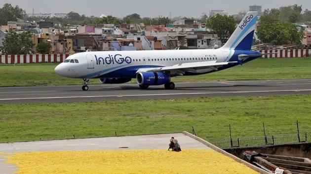 An IndiGo Airlines Airbus A320-200 aircraft moves on the runway after landing at the Sardar Vallabhbhai Patel international airport in India.(File photo)
