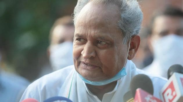 Rajasthan Chief Minister Ashok Gehlot speaks to the media outside the Governor's residence, in Jaipur.(HT photo)