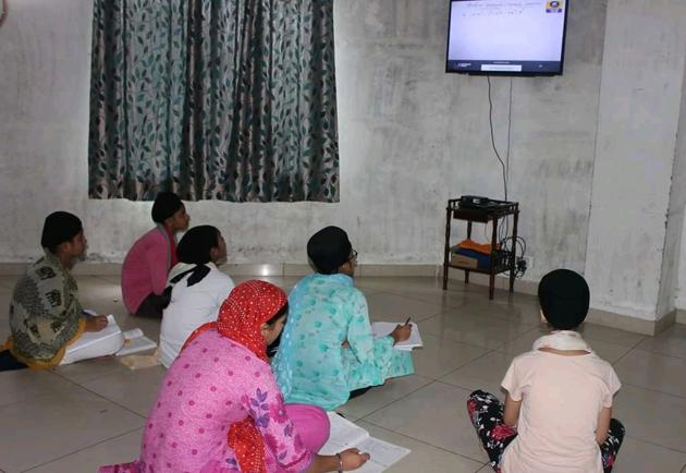 Students of Gur Aasra Trust in Sector 78, Mohali, attending online classes.(Photo: Facebook page of the trust)