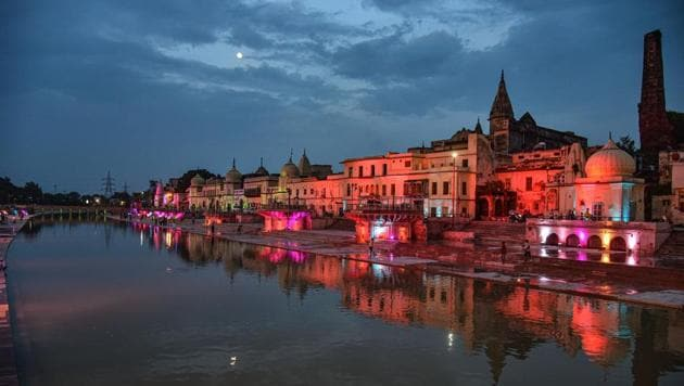 Ram Ki Paidi illuminated ahead of the ground-breaking ceremony for the construction of the Ram Temple, in Ayodhya.(PTI Photo)