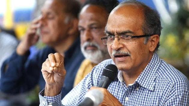 Prashant Bhushan had posted two tweets, one against the SC on June 27 and the second against CJI Bobde two days later.(Hindustan Times)