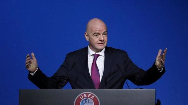 FILE PHOTO: FIFA President Gianni Infantino gestures during a UEFA Congress at Beurs van Berlage Conference Centre, Amsterdam, Netherlands, March 3, 2020. REUTERS/Yves Herman/File Photo(REUTERS)