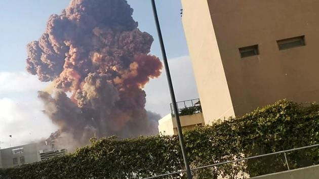 Smoke rises after an explosion in Beirut, Lebanon August 4, 2020, in this picture obtained from a social media video.(Reuters photo)