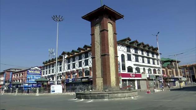 A deserted Lal Chowk, Srinagar.(ANI)
