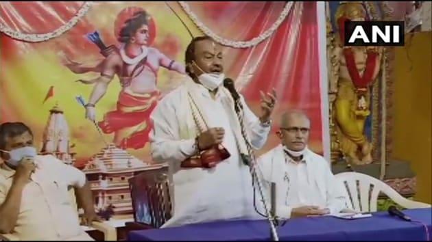 Karnataka minister K S Eshwarappa speaking at an event in Shivamogga district.(ANI)