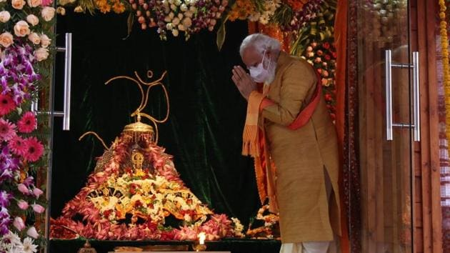 Ayodhya, India – August 5, 2020: Prime Minister Narendra Modi ahead of the foundation laying of the Ram Temple in Ayodhya, Uttar Pradesh, India on Wednesdya, August 5, 2020. (HT Photo)