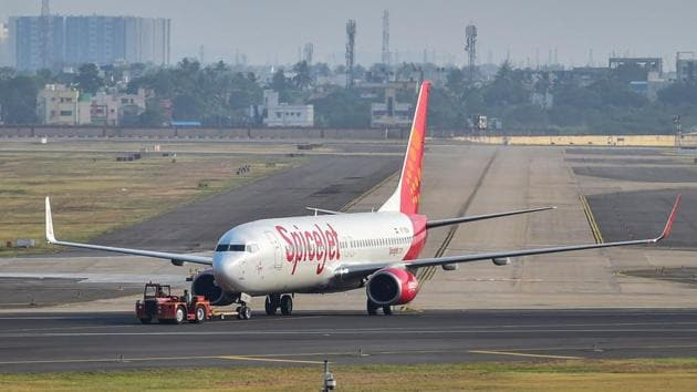 A SpiceJet plane prepares to take-off from Chennai airport for domestic travel, after flights resumed during the ongoing nationwide lockdown, in Chennai.(PTI)