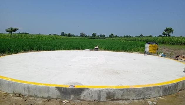 The helipad at a disputed location on the Indo-Nepal border along West Champaran district of Bihar(HT PHOTO)